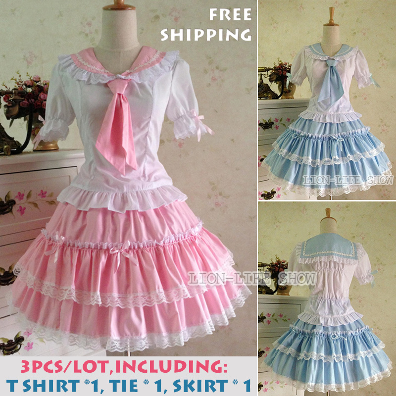 free shipping Lace Cotton Sweet GIRL Costume Lolita Princess Dress Pink Blue Sailor Moon Suit Cosplay Fancy dress customize