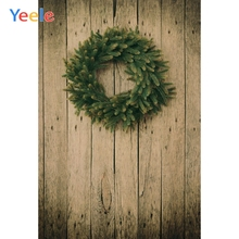 Yeele Grunge Wood Board Texture Wreath Photography Backdrops Christmas Professional Photographic Backgrounds For Photo Studio