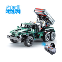 Remote Control Rocket Launcher Truck 2in1 Military 1369pcs with Motor 1:20 Scale Model Building Blocks Bricks INGly War Toys