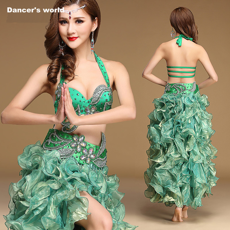Professional Dance Clothes Women Performance Top+belt+skirt 3pcs Belly Dance Set Girls Belly Dance Clothes Suit S/M/L