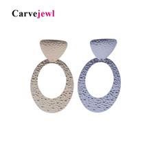 Carvejewl Drop Dangle Earrings Big Oval Circle Stamping earrings for women jewelry Girl Gift New Fashion Korean earrings trendy цена и фото