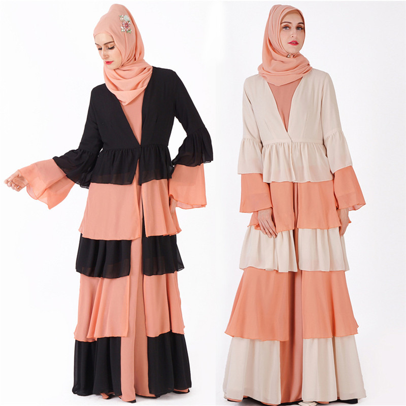 Abaya dubaï caftan Hijab robe musulmane malaisie mousseline de soie Cardigan longues Robes moyen-orient Ramadan femmes turc vêtements islamiques