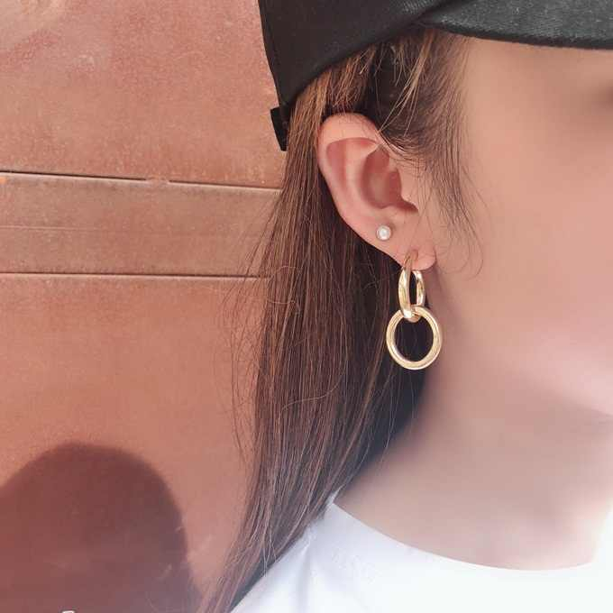 Timeless Wonder glam simple geo linked Stud Statement Earrings neat hiphop Party Show Gift Brincos super versatile top ins 2422