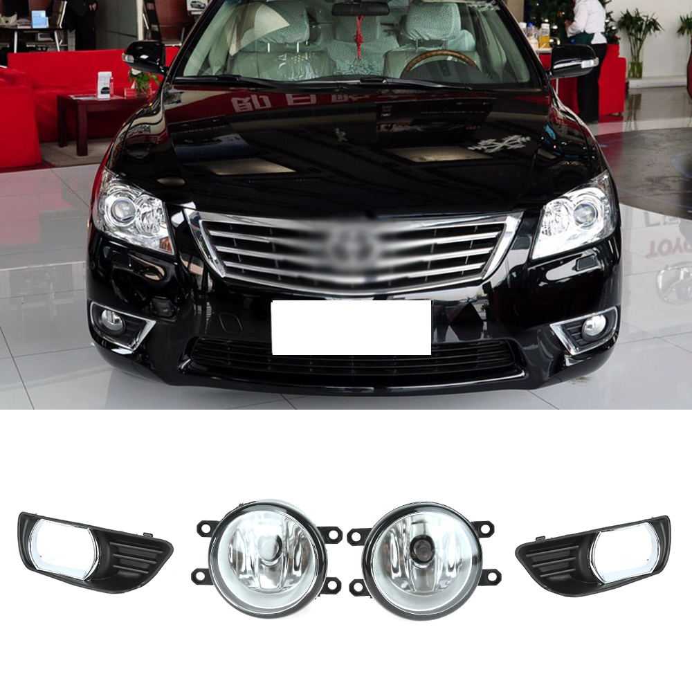 Fog Light Case for Toyota Camry 07-09 H11 Bulb Clear Front Driving Lamps +Wiring Kit Pair Quality Light 1set front chrome housing clear lens driving bumper fog light lamp grille cover switch line kit for 2007 2009 toyota camry