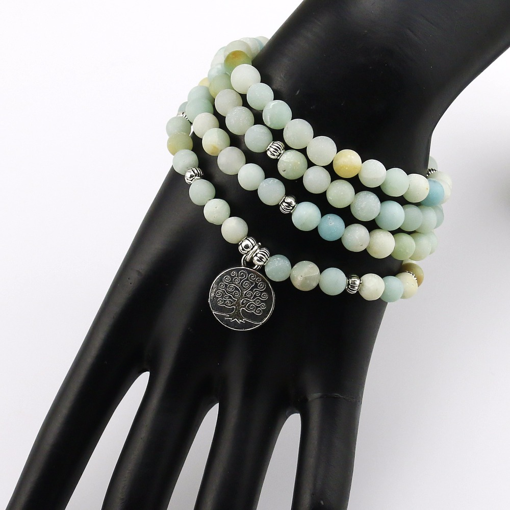 6mm Frosted Amazonite Mala 4
