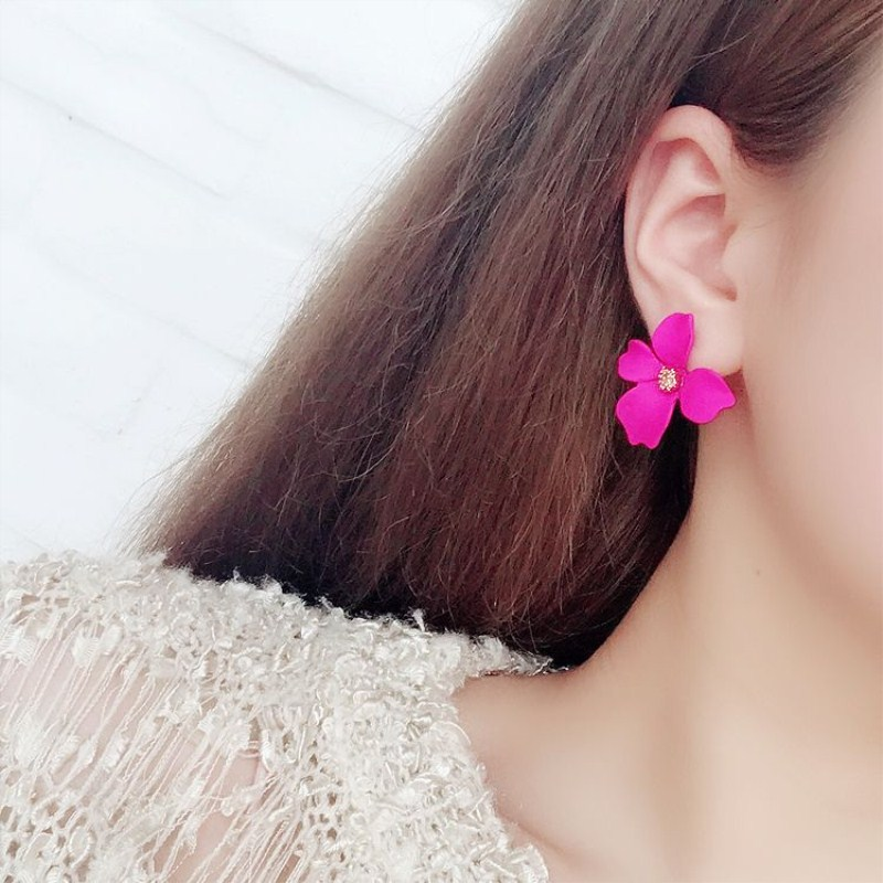New Korean Paint Flower Earrings Geometric Colorful Petal Stud Earrings for Women Brinco Statement Female Fashion Jewelry Gift|Stud Earrings| |  - AliExpress