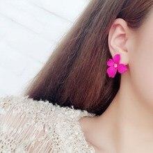 New Korean Paint Flower Earrings Geometric Colorful Petal Stud Earrings for Women Brinco Statement Female Fashion Jewelry Gift|Stud Earrings| |  - AliExpress