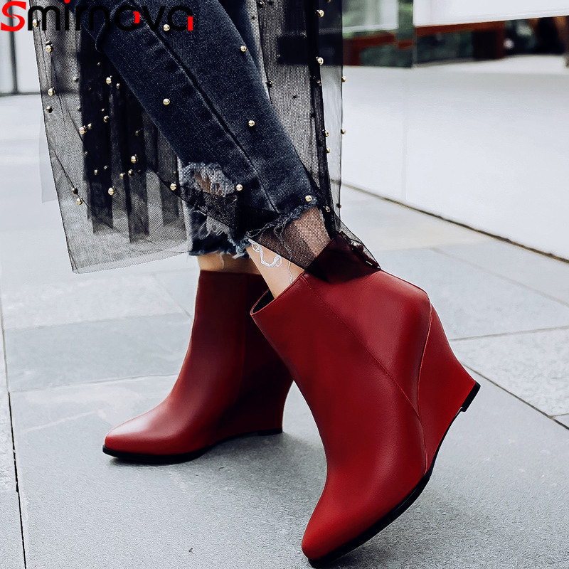 Smirnova 2018 fashion autumn winter shoes woman pointed toe elegant prom high heels ankle boots women genuine leather boots