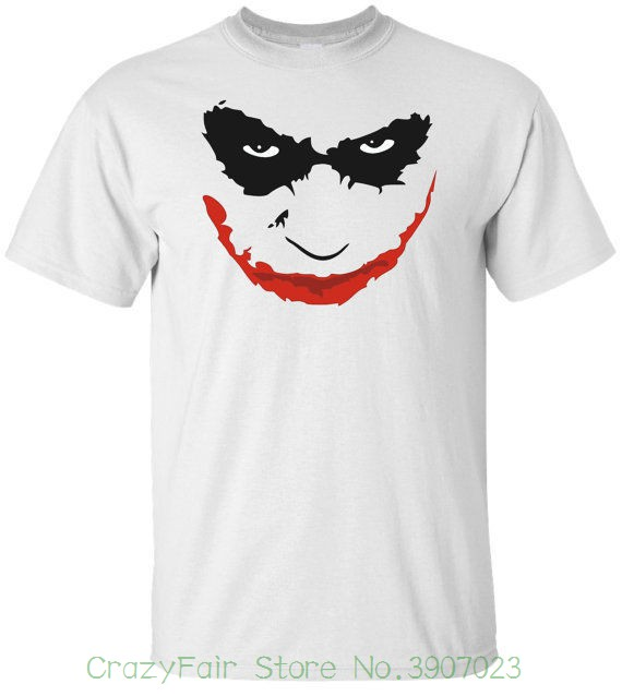 Men's Clothing Joker  Face  White T-shirt 100% Cotton Tee By Bmf Apparel Fashion Design Free Shipping