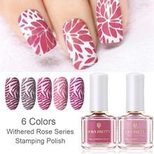 BORN PRETTY 6ml Stamping Polish Pink Purple Series Nail Art Printing Polish Rose Stamping Series Nail Polish цена