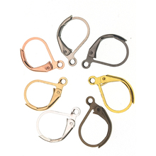 16*10mm 30pcs 7 Colors Silver Gold Gun black Plated Brass French Earring Hooks Wire Settings Base Ear Clasp Hook for DIY Jewelry