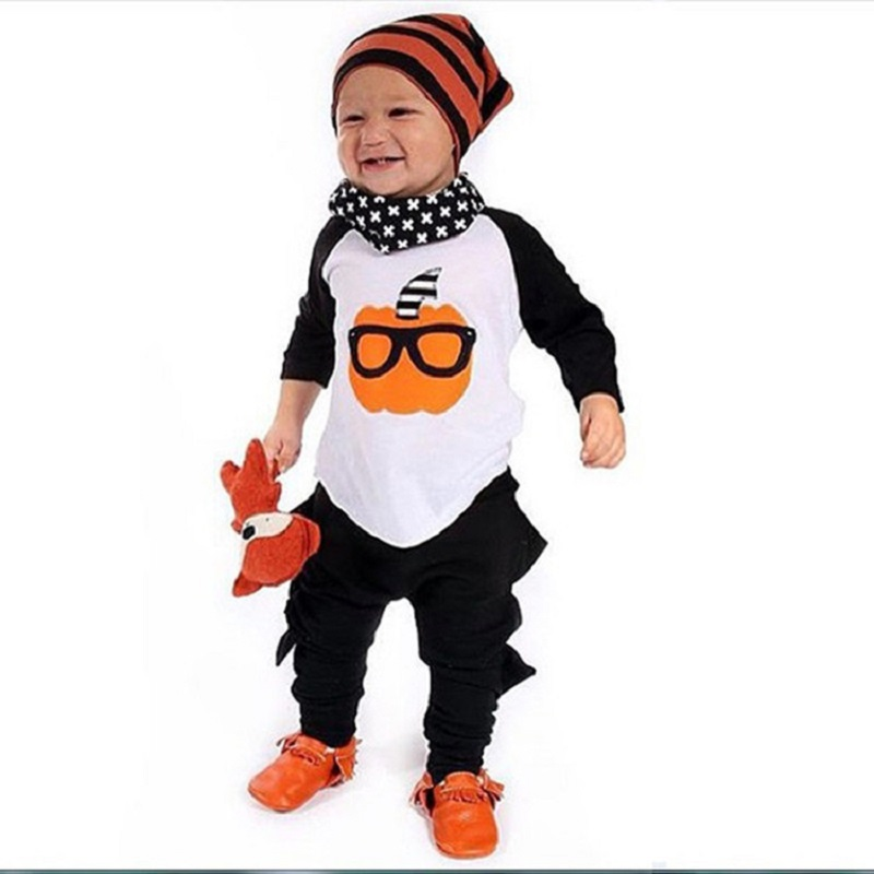 Pumpkin Baby Boys Clothes Suits Halloween Children 2PCS Clothing Sets Cotton Toddler Tee Shirts Pants Kids Outfits Sport Suits 1