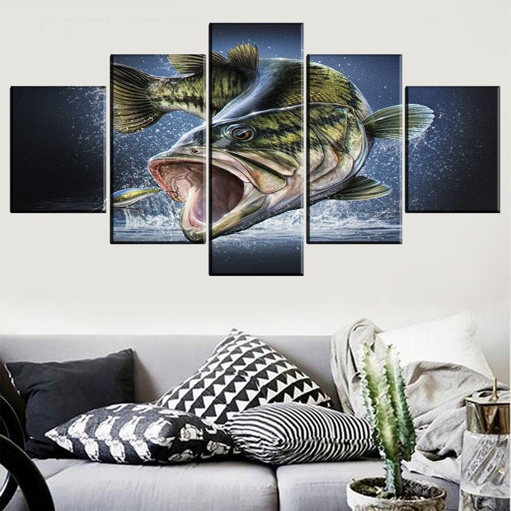 Fishing Home Decor: Canvas Print Painting Home Decor Largemouth Bass Fish