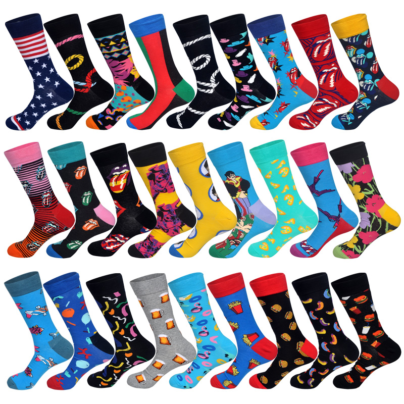 New Individual Creative Trendy Colored Cotton Socks Men Art British Style Foods Animals Hyperbole Designer Happy Socks Long Sox
