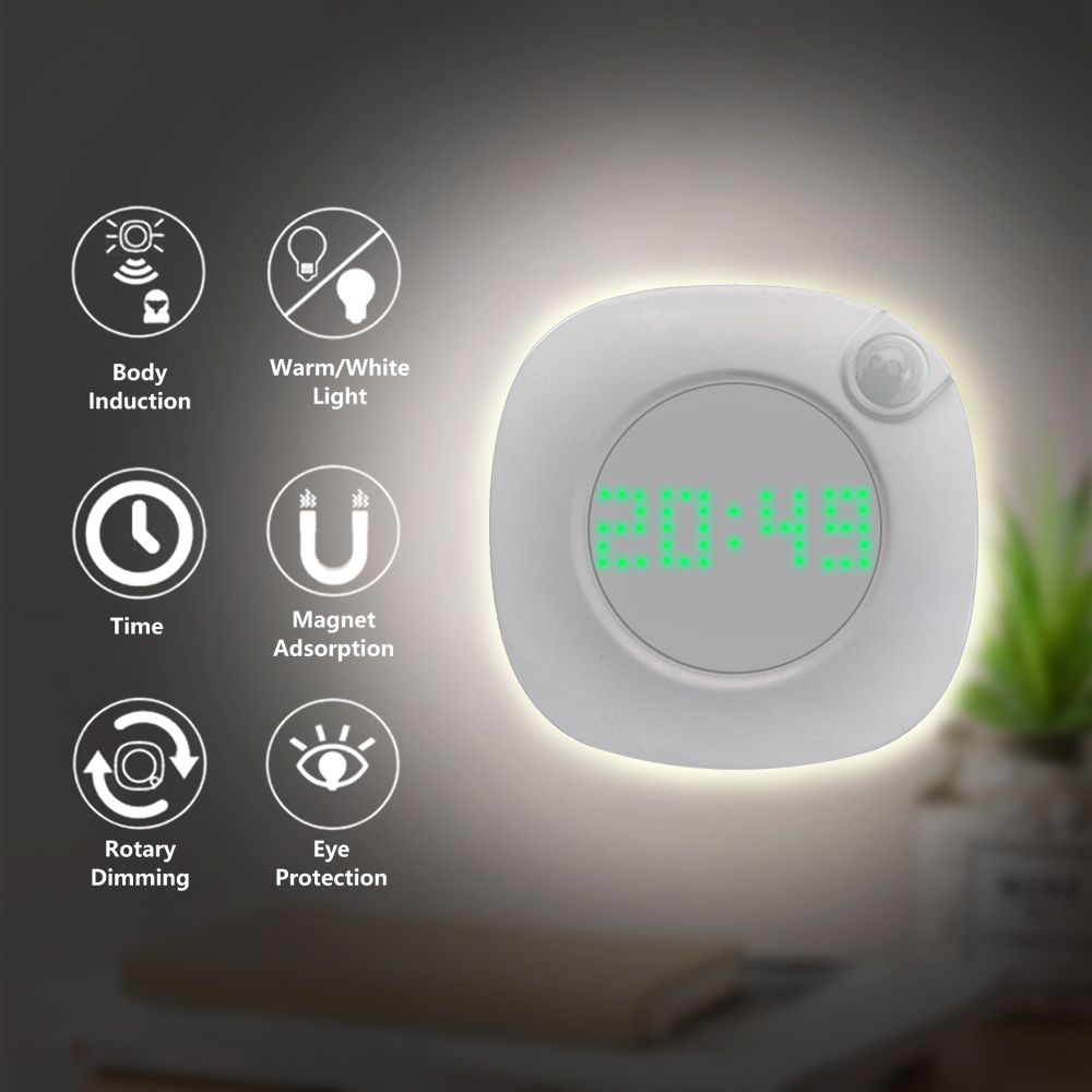 LED Night Light Human Body Infrared Sensor Light Night Lamp Battery Powered Time Clock Adjustable Lighting for Toilet Wardrobe-in LED Night Lights from Lights & Lighting