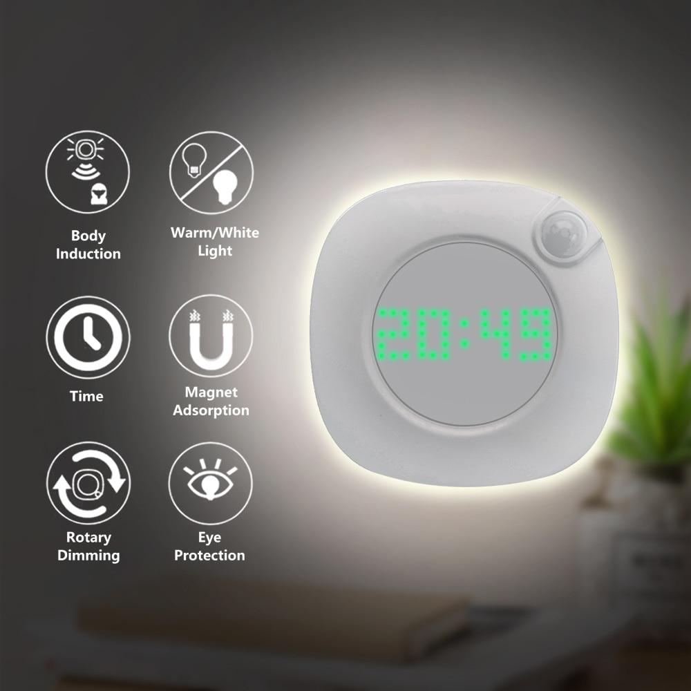 LED Night Light Human Body Infrared Sensor Light Night Lamp Battery Powered Time Clock Adjustable Lighting For Toilet Wardrobe