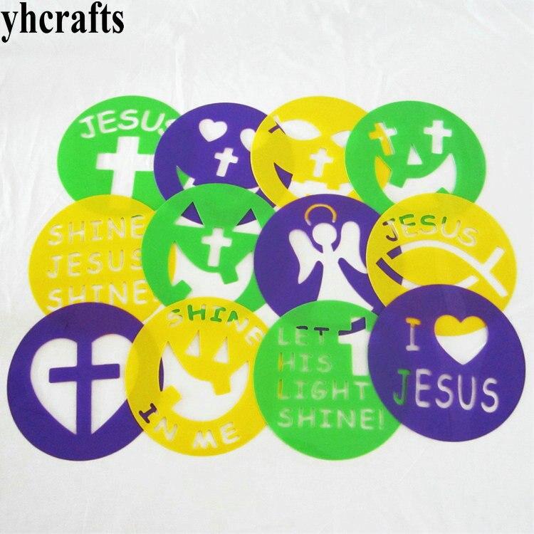 12PCS/LOT.Round Jesus stencil Kids art toys  Kindergarten arts and crafts Animal Xmas Halloween Autumn Stencils