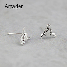 Vintage 925 Sterling Silver Punk Jewelry Ox Head Skull Ear Studs Earring Retro Jewelry Fashion Jewelry Gifts For Girls 2017 Hot