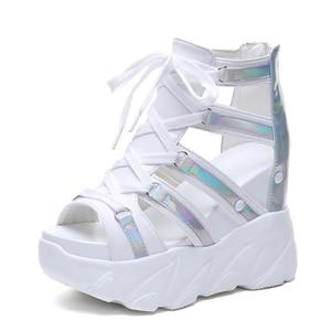 Image 2 - הו תרומה קומפורטי נעלי נשים מאפין תחתון טריזי עקבים קיץ נעלי נשי לנשימה סנדלי נשים אופנה פלטפורמת סנדלים