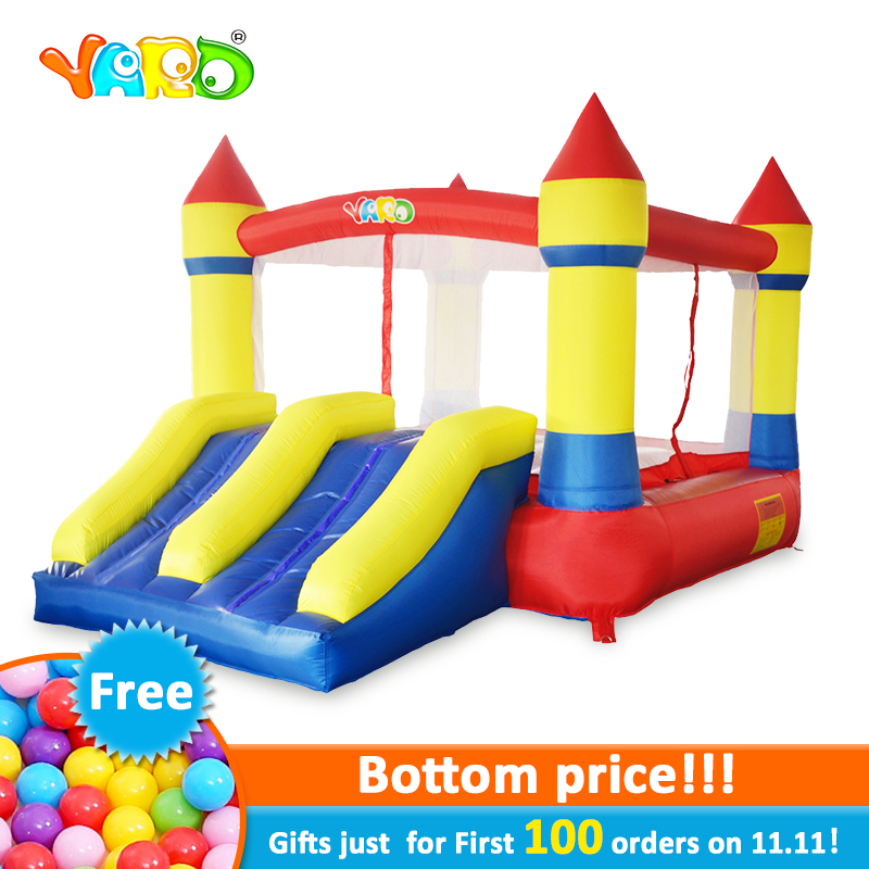 YARD Inflatable Games Bouncer Castle PVC Oxford Dual Slides Outfoors Games For Kids Inflatable Trampolines Pula Free PE Balls free shipping garden park outside pvc toys inflatable 13ft bouncer trampolines high quality interative games for sale