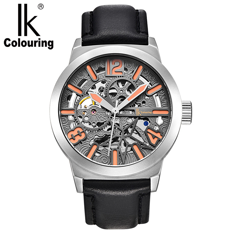 IK Colouring Watch Men Skeleton Automatic Mechanical Watch Gear Carve Vintage Man Watch Mens Large Dial Watch Top Brand Luxury