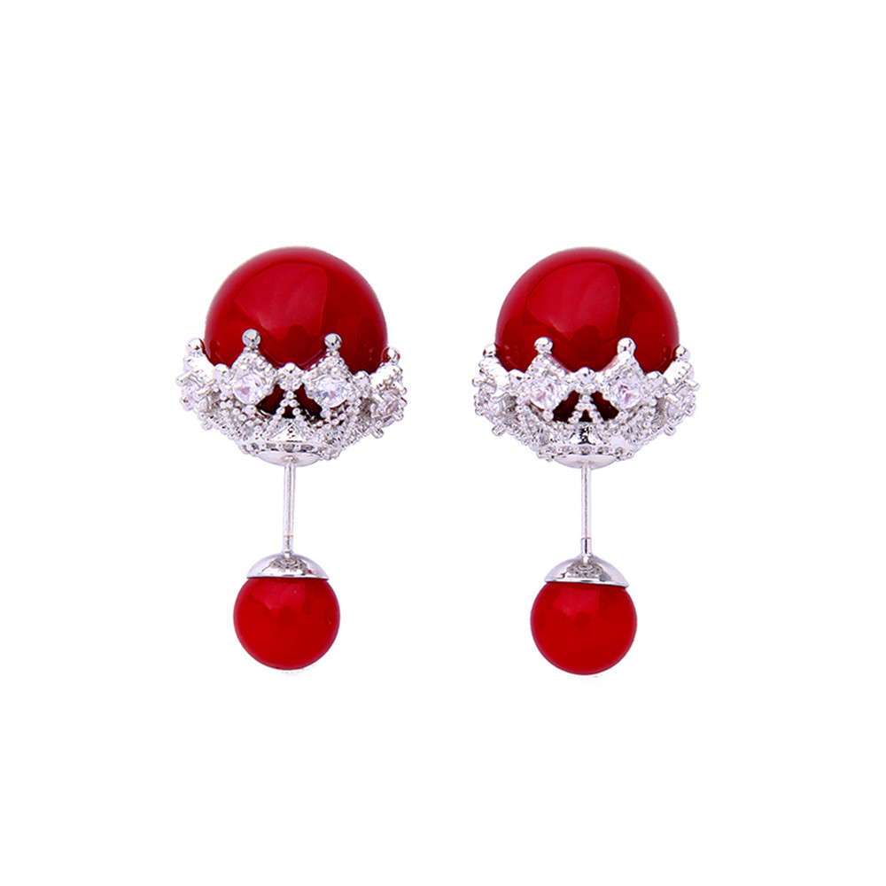 South Korea simple personality temperament jewelry 925 silver female stud double red white nude pink imitation pearl earrings