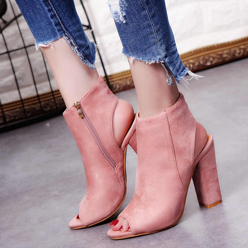 Ayakkabı kadın 2019 yüksek topuklu balık ağzı kısa çizmeler moda rahat fermuar ile kalın süet düz renk ayakkabı kadın