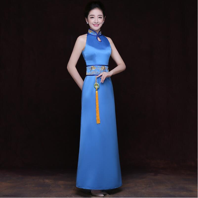 New design Modern cheongsam dress Chinese style dress ladies elegant party gown oriental women long blue qipao dress in Cheongsams from Novelty Special Use