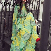 Miessial Sexy print long sleeve boho holiday shirt dress Women loose bodycon beach dress elegant Summer green club maxi dress