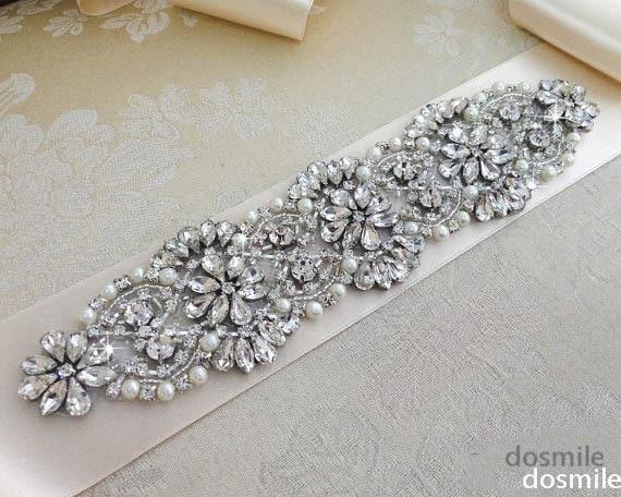 Free Shipping 2015 Chic Crystal Pearls Wedding Sash Silk Fabric Bride Sash 2 Meters Handmade Wedding Belts