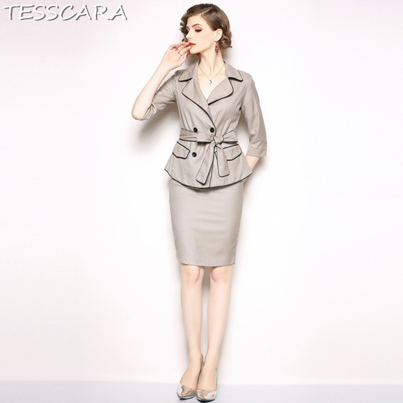 TESSCARA Women Elegant Khaki Blazer Designer Skirt Suit Set Interview Suits blazer High Quality Female Office