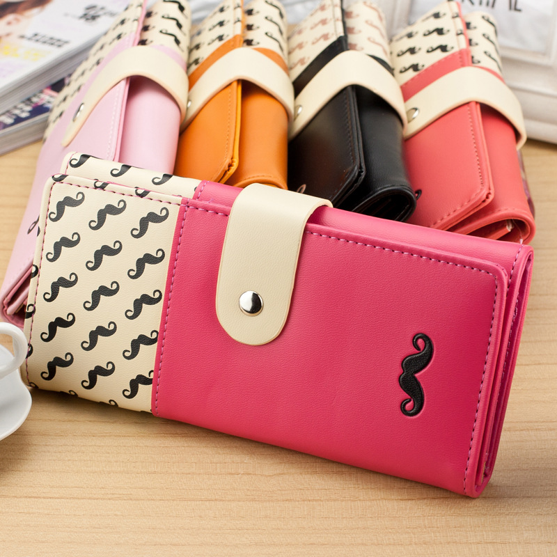 2018 carteira feminina Smooth PU Leather Wallet Cute Mustaches Pattern Purse Clutches Coin Purse Cards Holder Bag for Women AGD 1