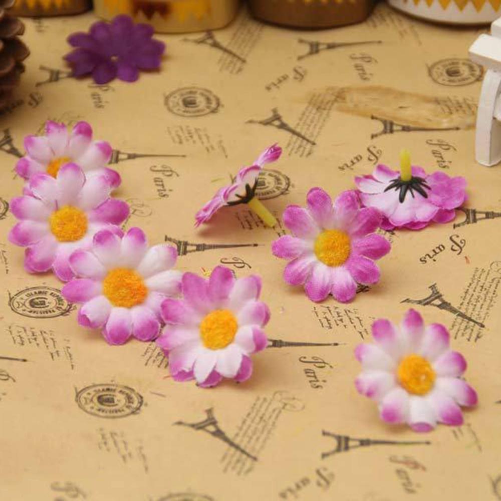 100pcbag Bright Colored Artificial Gerbera Daisy Heads Silk Flower