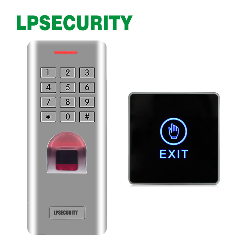 Office use Waterproof biometrics fingerprint access control keypad reader with Backlight LED Touch Exit Button Office use Waterproof biometrics fingerprint access control keypad reader with Backlight LED Touch Exit Button