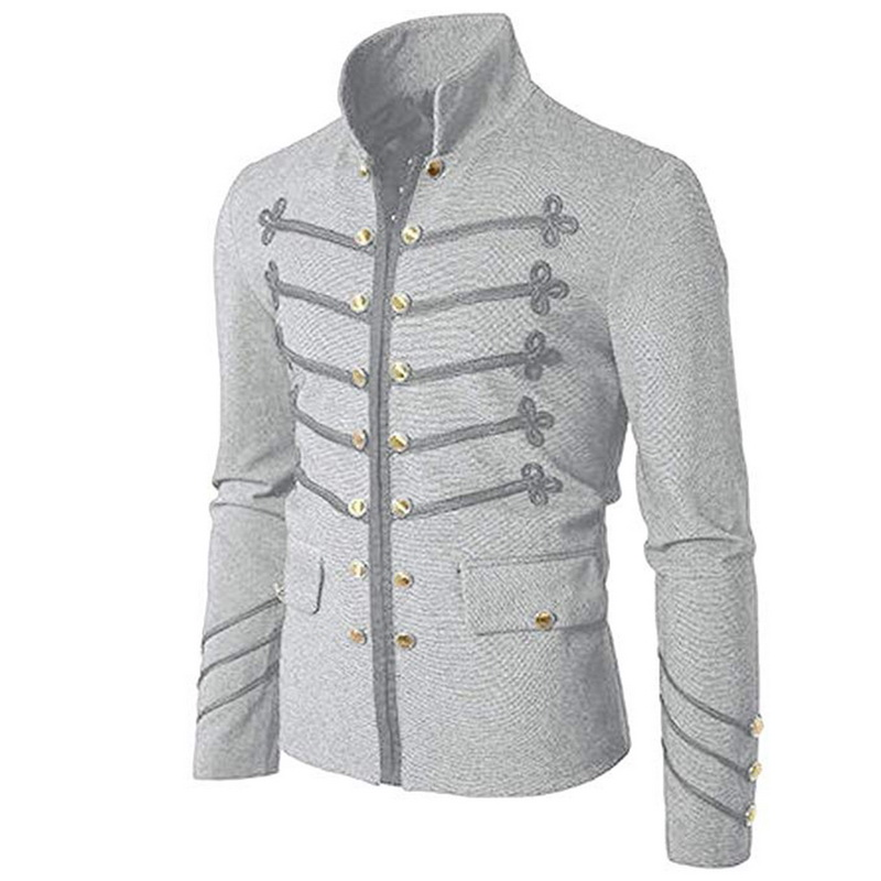 MJARTORIA 2019 New Men's Stand-Up Collar Gothic Jacket Button Decorated Coat  Costume Praty Coat Outwear