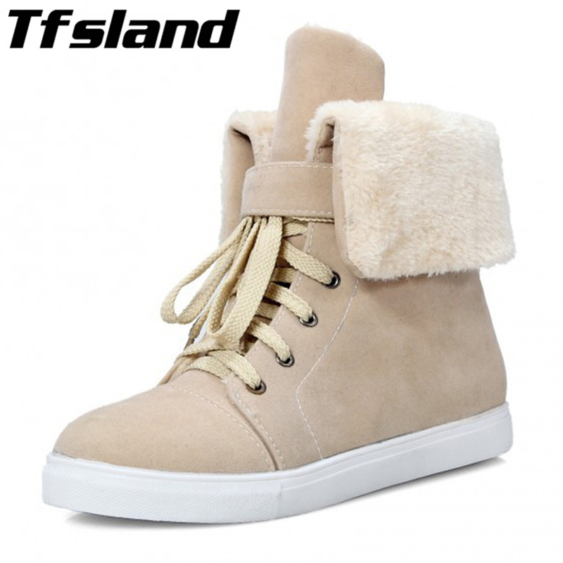 Tfsland New Women Winter Warm Plush Snow Boots Women Faux Fur Suede Leather Ankle Boots Soft Comfortable Walking Shoes Sneakers