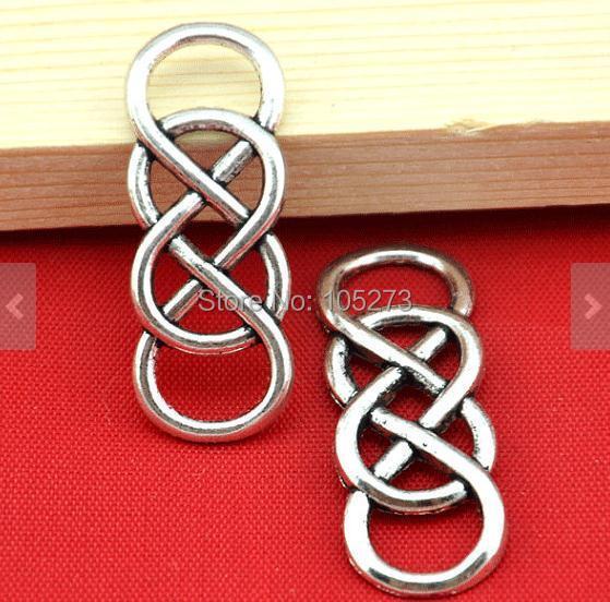 20pcs Antique Silver Wire Mesh Double Infinity Symbol Charm Pendant