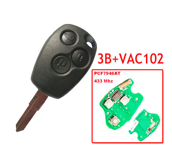 Free shipping 3 Button Remote Key With 7946 Chip Round Button With VAc102 Blade for Renault 5pc/lot