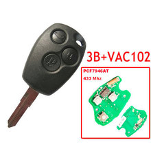 Remote-Key Vac102-Blade Renault with 7946-Chip Round-Button for 5pc/Lot XNRKEY