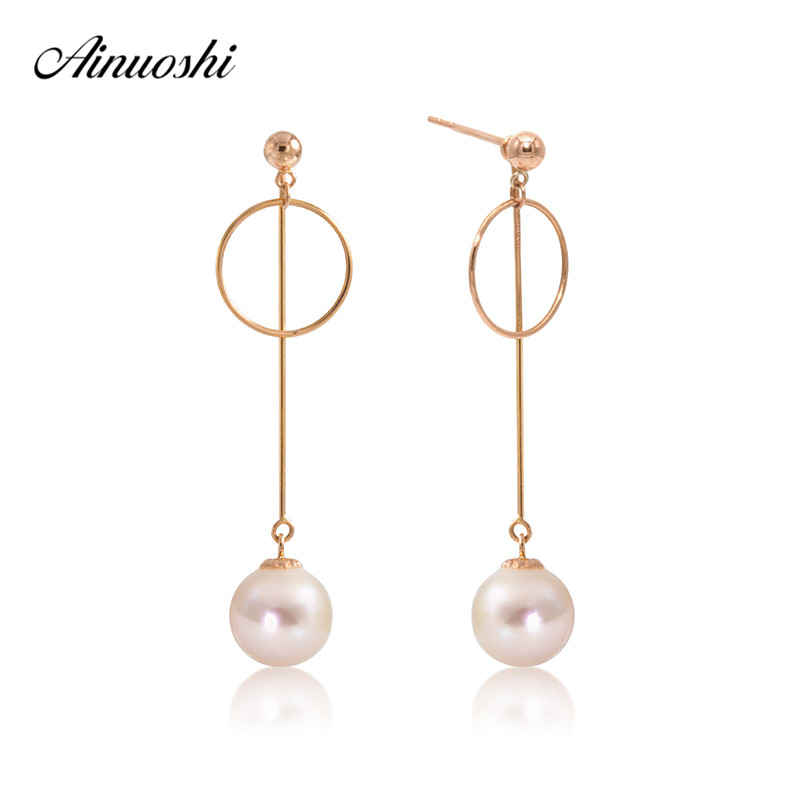 AINUOSHI Luxury 18K Yellow Gold Drop Earring Natural Freshwater White Pearl Dangle Earring Circle Earrings for Women Girl Gift faux pearl metal circle drop earrings