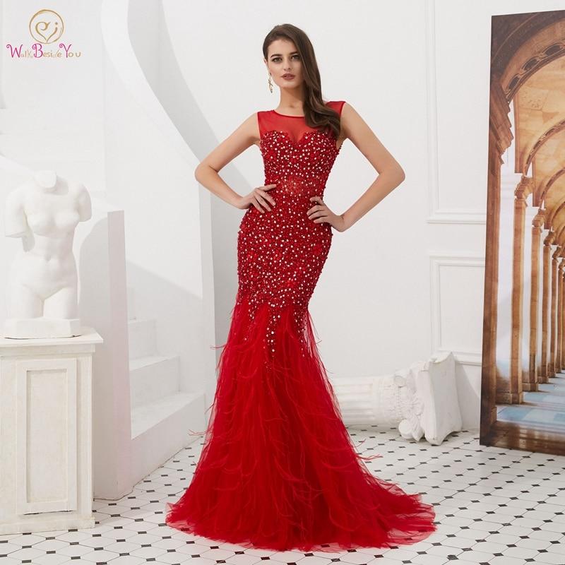 2019 rouge cristal Tulle sirène robes de soirée élégant O cou sans manches longue perles Robe Femme Sexy étage longueur robes de soirée
