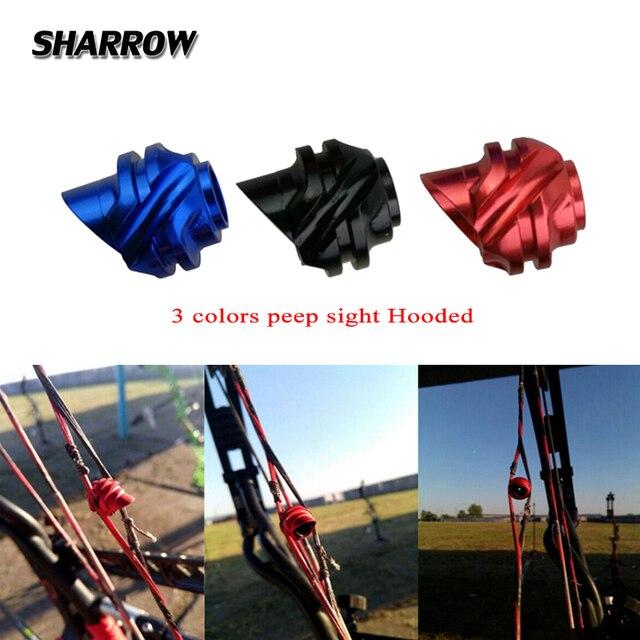 1pc arco composto arco peep sight 37/45 graus de alumínio com capuz para a caça tiro visando equipamentos