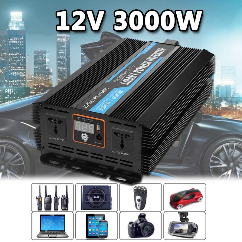 3000 W DC 12 V à AC 220 V USB 6000 Watt Max voiture onduleur chargeur convertisseur adaptateur modifié onde sinusoïdale Pure convertisseur