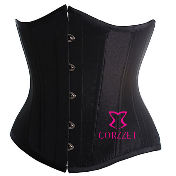 Satin Boned Plus Size Waist Trainer Corsets And Bustiers S- 6XL Black Underbust Corset Cincher Bustier Short Corselet For Women