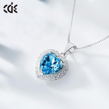 Women Heart Necklace Pendant 925 Sterling Silver Necklace Embellished with crystals from Swarovski (12 colors)