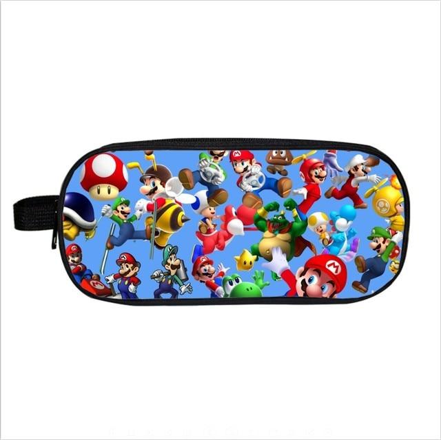 Super Mario Bros Pencil Holder Sonic Children School Case Bag Kids Cartoon Bag Boys Girls Purse Wallet Gifts