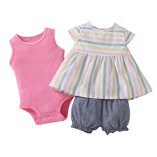 Brandwen 2017 New Summer High Quality Baby Girl Fashion Sleeveless Clothing Set Striped Dress Shorts Bodysuit