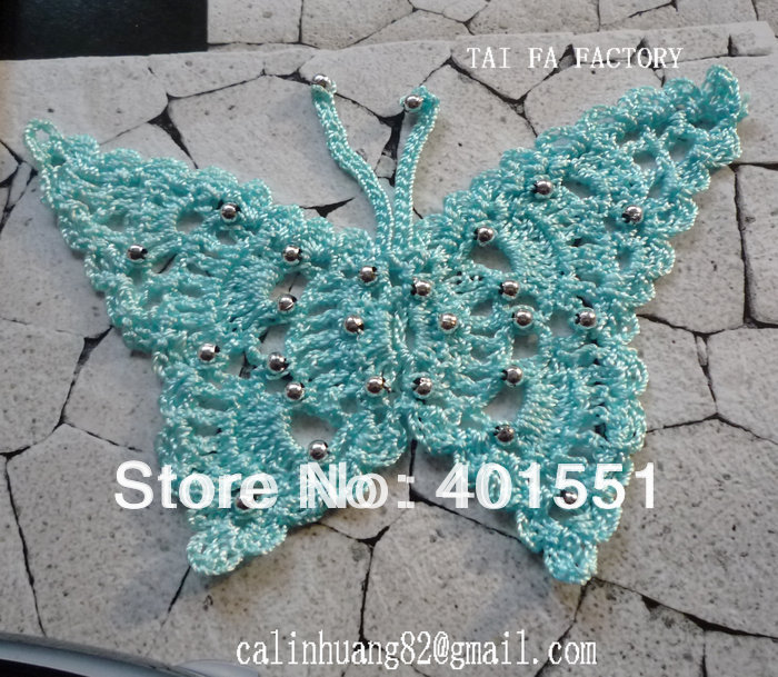 handmade wbead butterfly crochet 100 applique FOR hat cLq354jSRA