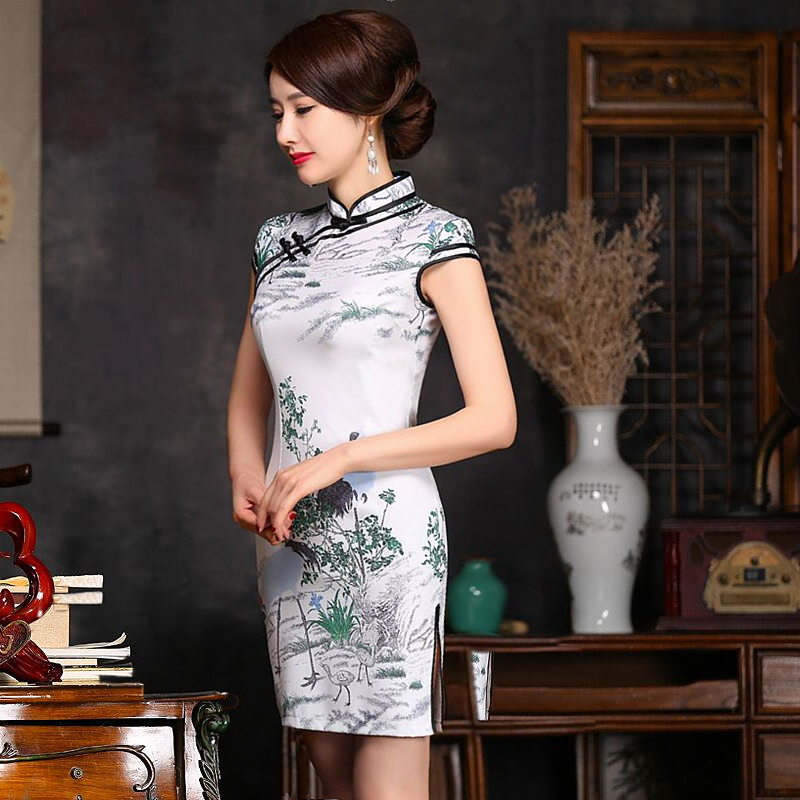 Noble Women Mini Cheongsam Hot Selling Traditional Chinese Style Satin Qipao Dress Vestido Size S M L XL XXL 216006