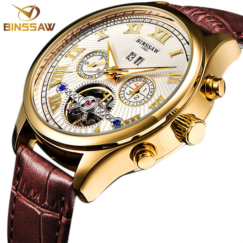 d42205cab394 BINSSAW hombres mecánico automático reloj Tourbillon de negocios de cuero  de moda de marca de lujo relojes de oro reloj Masculino regalos en Relojes  ...